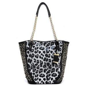 Handbags - Leopard Printed Bling Chain  Tote